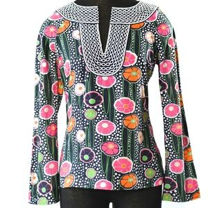Tory Burch Tunic Embroidered Long Sleeve Top 0 XXS